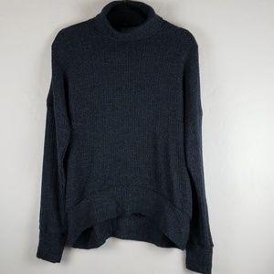 TOPSHOP Navy High/Low Hem Turtleneck Swing Sweater